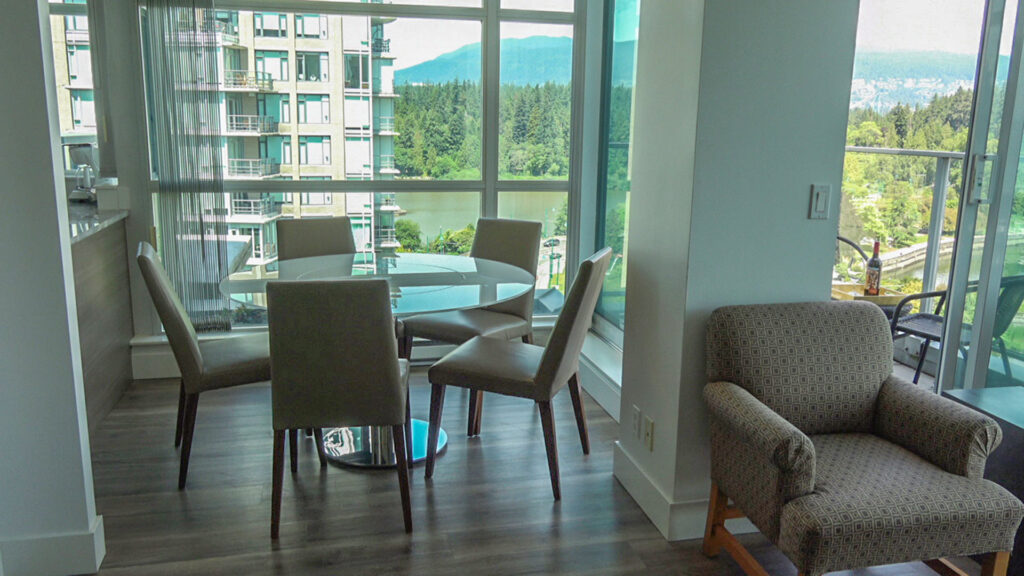 Presidential Suites Living Room And Dining Room With Coal Harbour Views